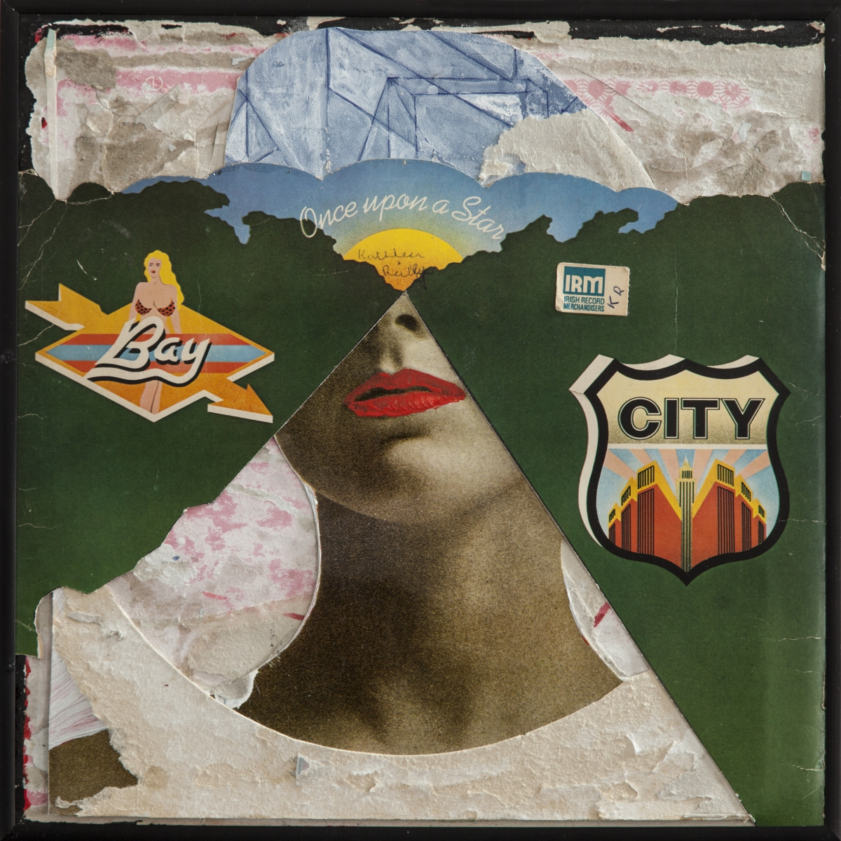 Collaged record sleeve and acrylic